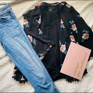 Back to Black Floral Kimono